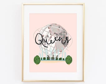 Illustrated Queens, New York Art Print, Illustrated NYC Decor, NYC Gift