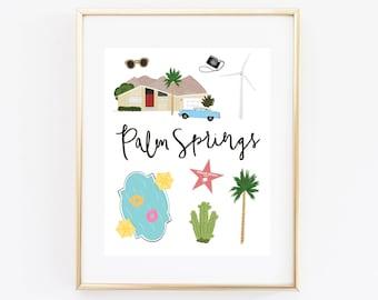 Illustrated Palm Springs Art Print
