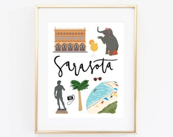 Illustrated Sarasota Florida Art Print