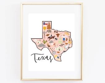 Illustrated Texas Map Art Print