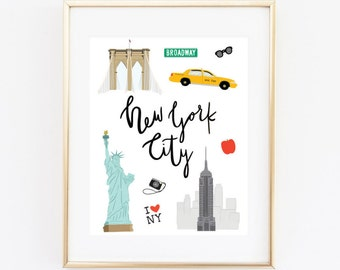 New York City Art Print, Illustrated NYC Decor, NYC Gift, Wall Art