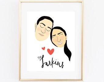 Custom Couple Portrait, Illustrated Couple Portrait, Anniversary Gift, Valentine's Day Gift