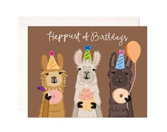 Happy Birthday Card Handmade Llama Greeting