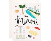 Miami Card, Illustrated Miami Greeting Card, Miami Gift
