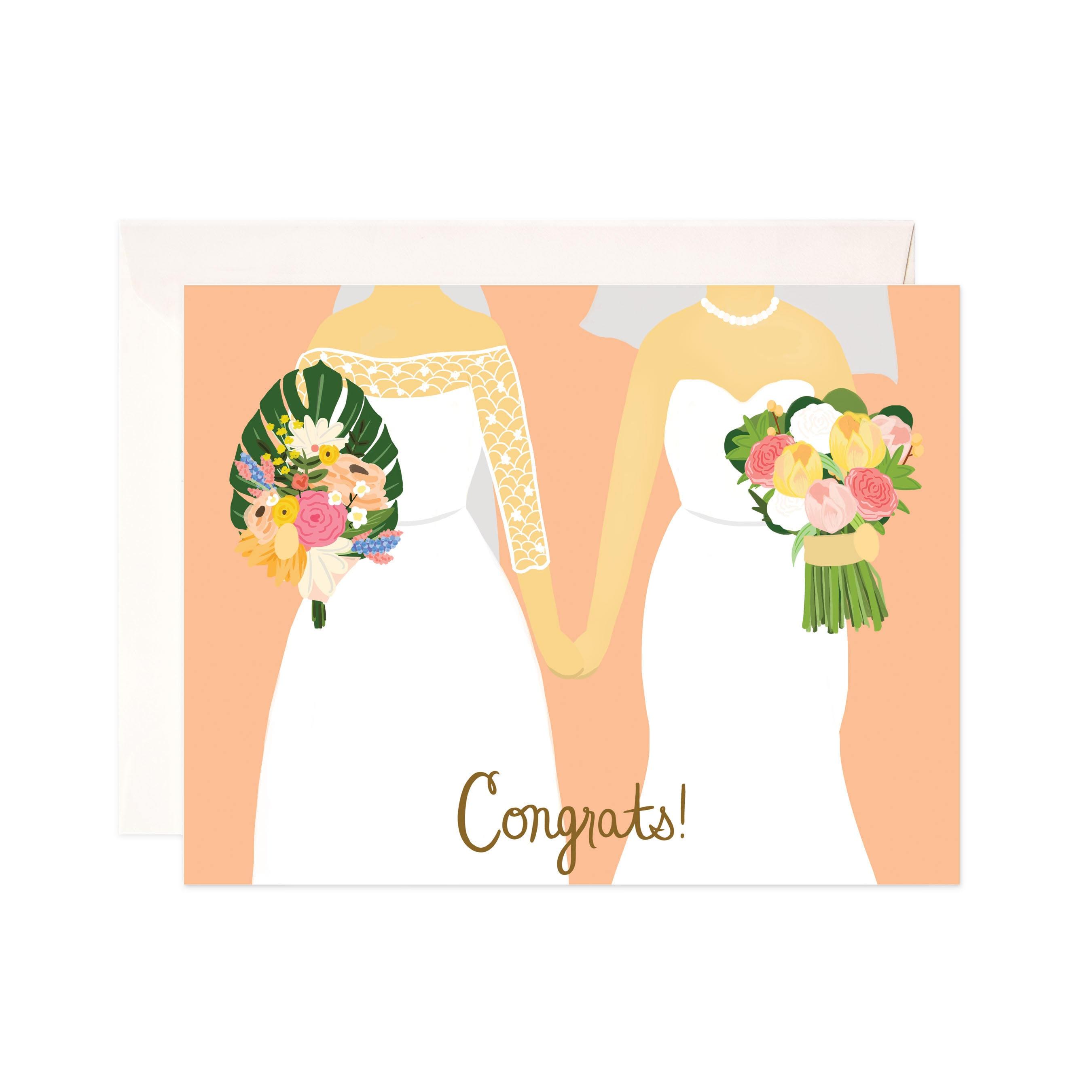 Lesbian Wedding Congratulations Card Handmade Wedding Etsy