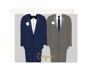 Gay Wedding Congratulations Card: Handmade Wedding Congrats Greeting Card