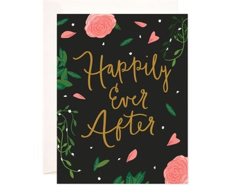 Wedding Congratulations Card: Handmade Happily Ever After Greeting Card