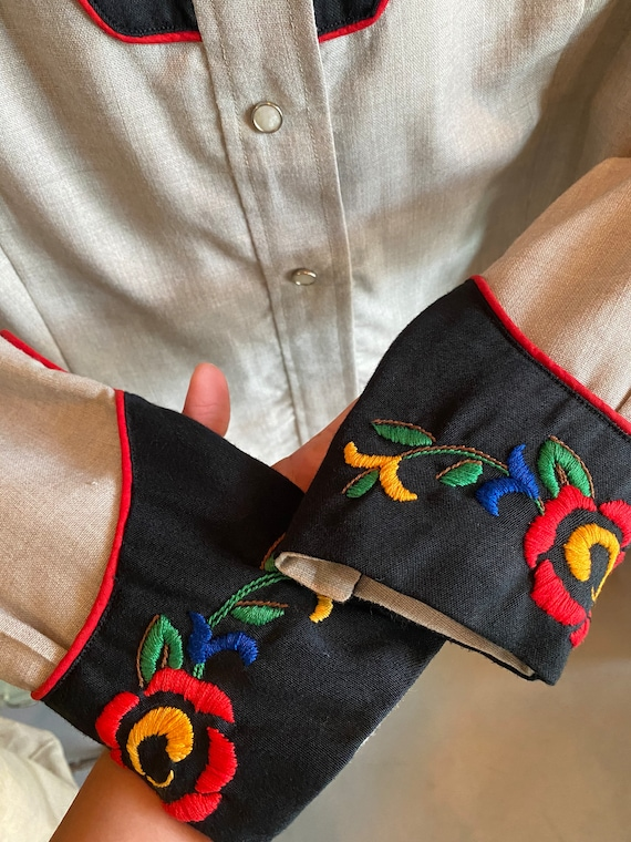 Vintage 1940s 1950s western cowboy embroidered sh… - image 4