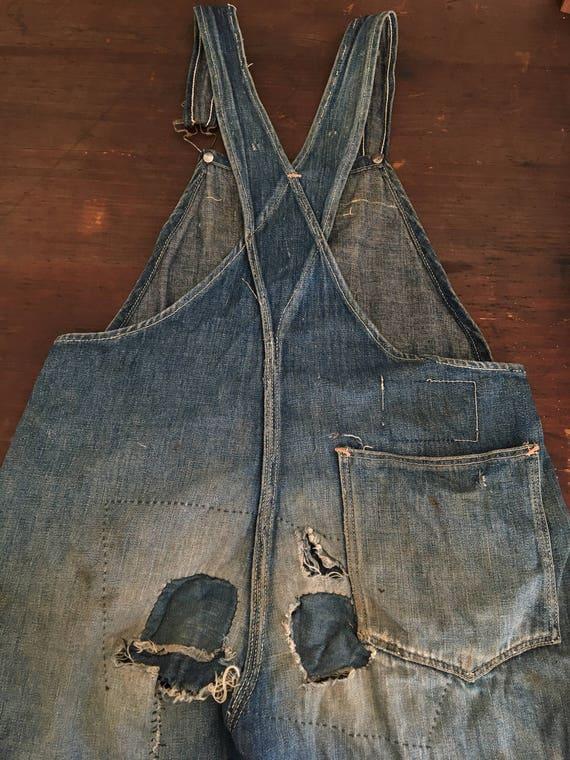 Vintage 1920s 1930s Overalls Boys Blue Denim Work
