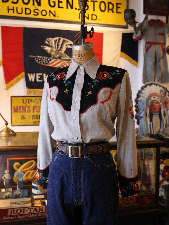 Vintage 1940s 1950s western cowboy embroidered shi