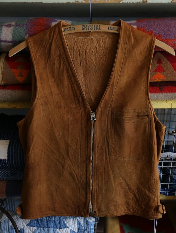 Vintage 1930's 30s Golden Brown Suede leather Talo