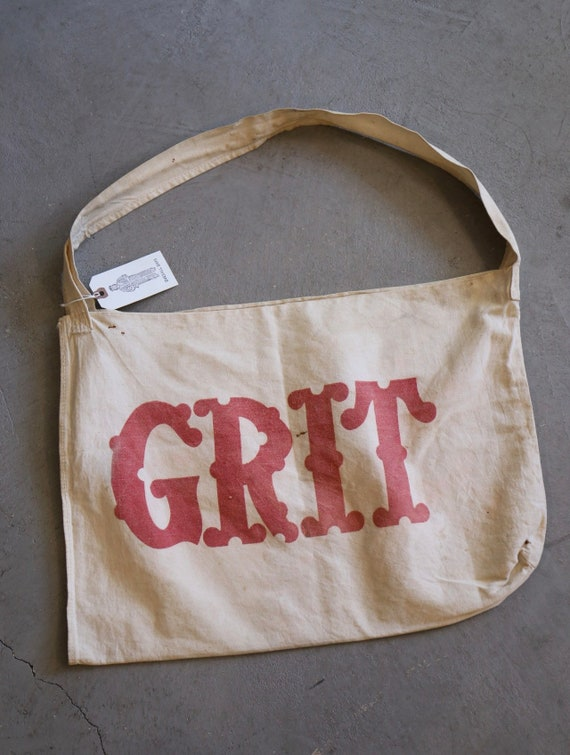 Vintage 1920s 30s Grit newspaper newsboy bag