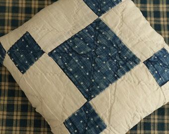 Antique Vintage Blue Quilt Pillow