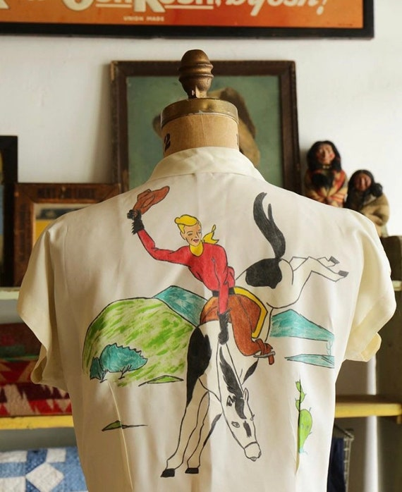 1950s blouse with cowboy hand painted 1940s shirt