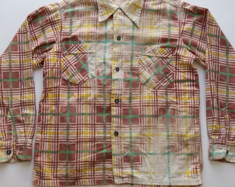 Vintage 1940's Pilgrim Sears Sanforized Plaid Flannel Destroyed Work Farm Shirt