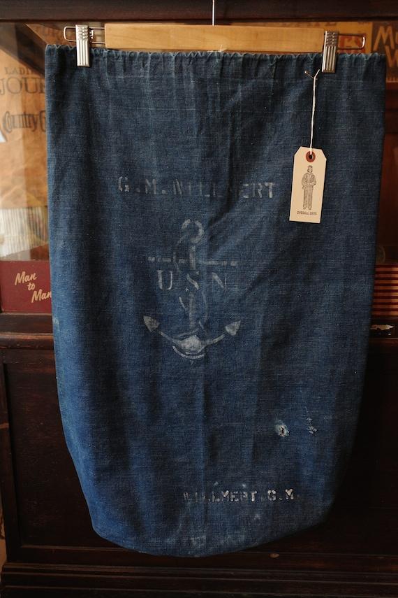 Vintage 1940's wwii ww2 denim usn us navy laundry