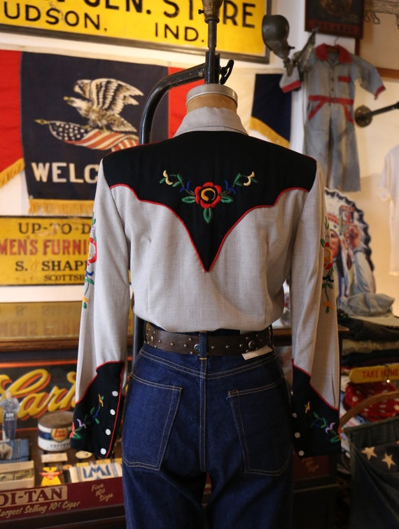 Vintage 1940s 1950s western cowboy embroidered sh… - image 2