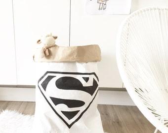 Super héros / / blanc stockage sac papier des jouets, des livres, des ours en peluche... Intérieur d'enfants