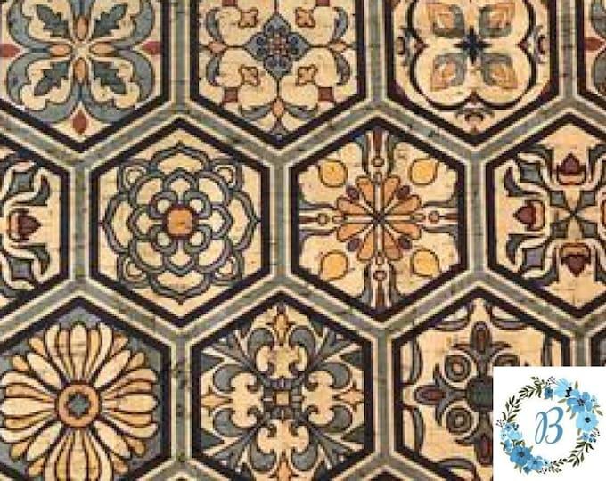 CORK CUTS - Cork Fabric with Hexagon Tile Pattern