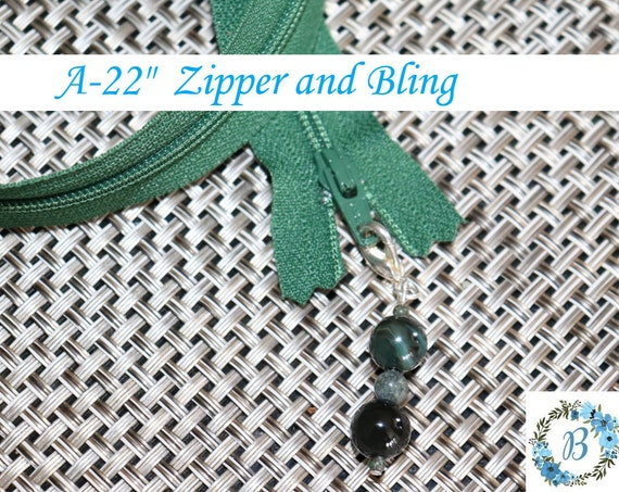 ZIPPERS & BLING - #3 YKK Zippers with handmade zipper puller