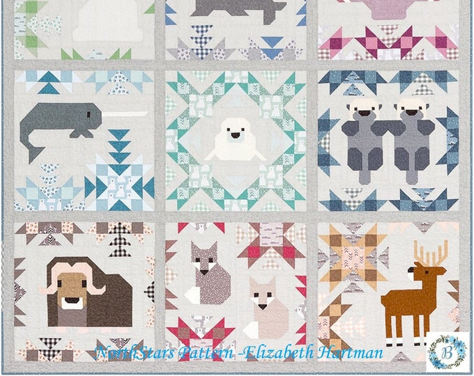PATTERN - NORTH STARS - Free Shipping Pattern by Elizabeth Hartman  Mix and Match Animal Sampler Quilt and Pillow Pattern