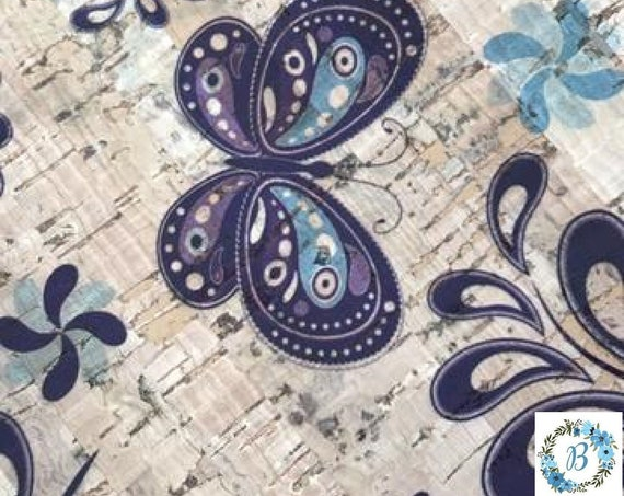 Natural with Indigo Butterfly Print Cork Fabric