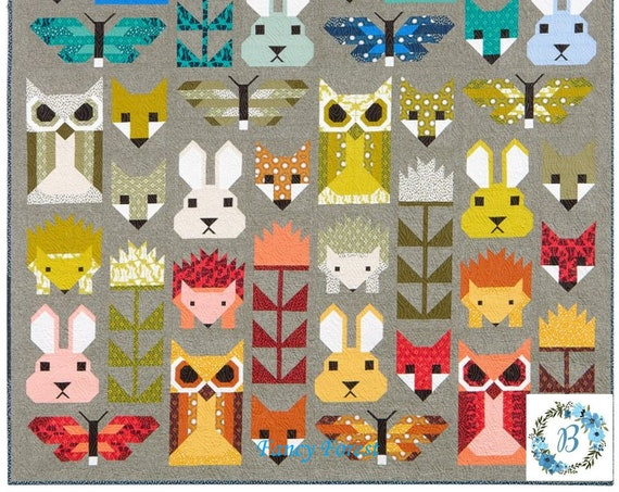 FANCY FOREST - Pattern by Elizabeth Hartman  Mix and Match Animal Sampler Quilt and Pillow Pattern