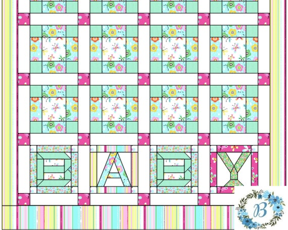 BABY QUILT Kit - Flutterby - Includes BQP Original Pattern - fabric cuts for quilt Top and coordinated binding enough for the project