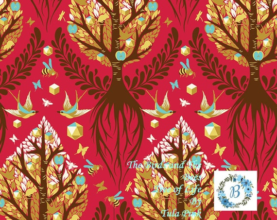 Birds and the Bees - Tree of Life - OOP Cinnamon by Tula Pink for Free Spirit Half Metre Cuts from the Bolt