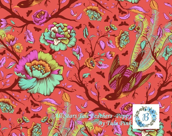 TULA TAIL FEATHERS - Poppy- All Stars by Tula Pink for Free Spirit Half Metre Cuts from the Bolt