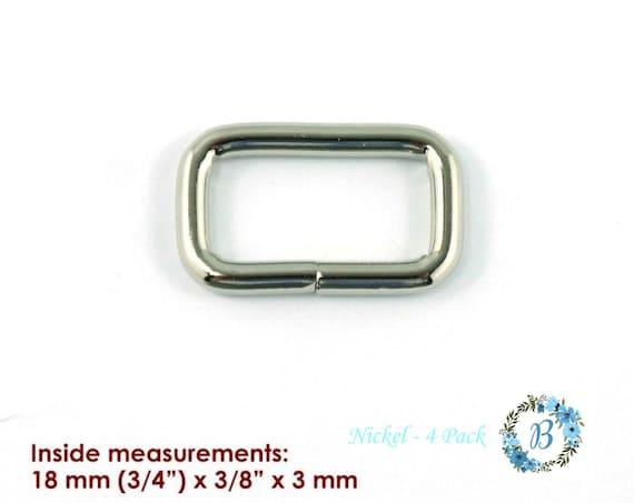 RECTANGLE RINGS (3/4 inch)  EMMALINE Bag Hardware Rectangular Rings 4 pack - Various Finishes