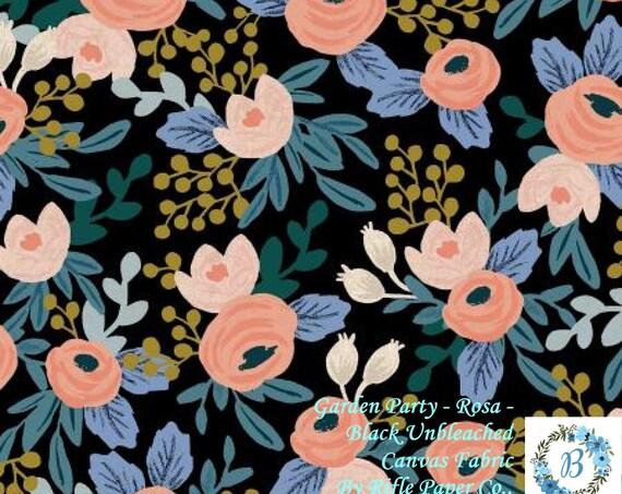 CANVAS Juliet Rose Rosa Black Unbleached Canvas - Rifle Paper Co for Cotton & Steel  Enjoy Garden Party