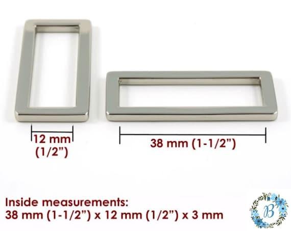 1.5 Inch EMMALINE BAG HARDWARE Flat Rectangular Rings 4 pack