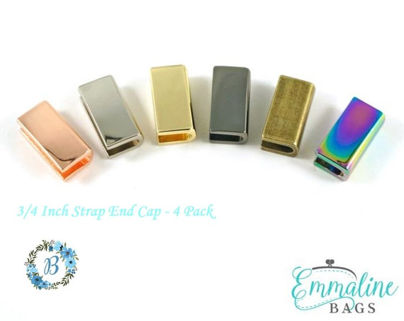 3/4 Inch End Caps EMMALINE BAGS Rectangular Strap End Cap Various Finishes -  4 pack