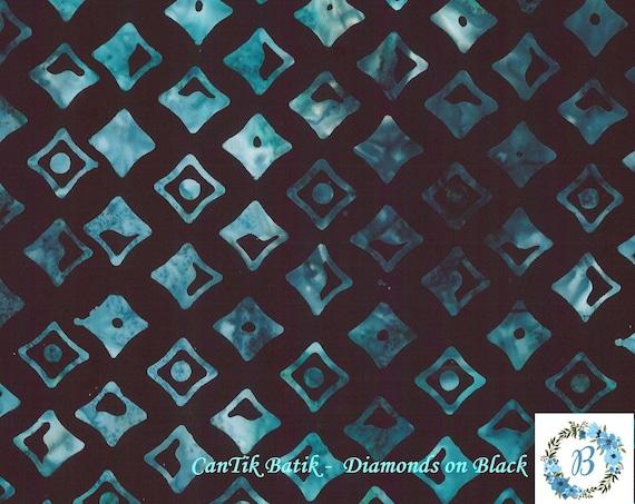 Batik - Aqua Diamond's on Black - an amazing blender with many fabrics listed here on the page. Enjoy