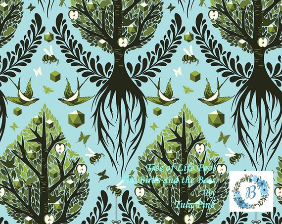 Birds and the Bees - Tree of Life - Pool  by Tula Pink for Free Spirit Half Metre Cuts from the Bolt