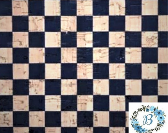 Cork Cuts - Checkerboard design with navy and natural - Create some interest with this gorgeous navy check