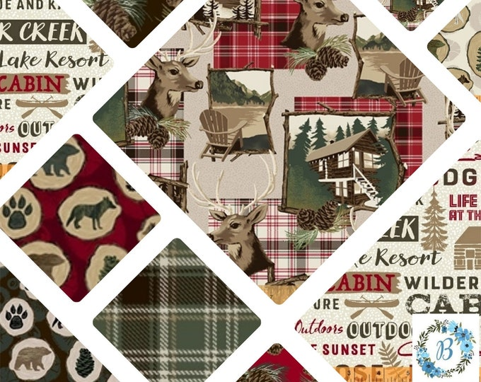 Home Sweet Cabin 100% Quilt Cotton - Life is better at the Cabin