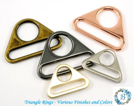 EMMALINE BAG HARDWARE Triangle Rings:  (2 Pack) -  Various Finishes and Sizes