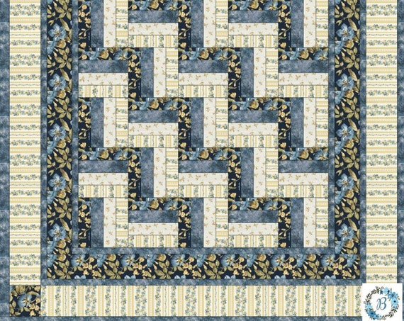 """Quilt Top Kit  Featuring English Country Side - By Maywood Studio Spaced Floral Navy - Measuring 64"""" x 64"""""""