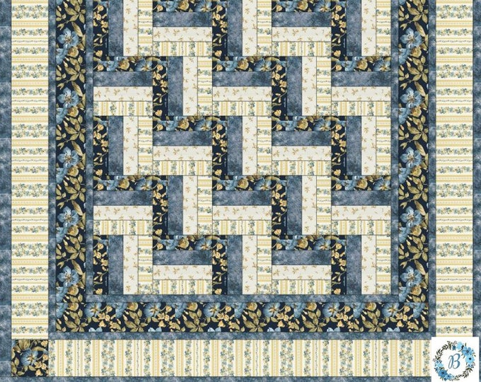 "Quilt Top Kit  Featuring English Country Side - By Maywood Studio Spaced Floral Navy - Measuring 64"" x 64"""