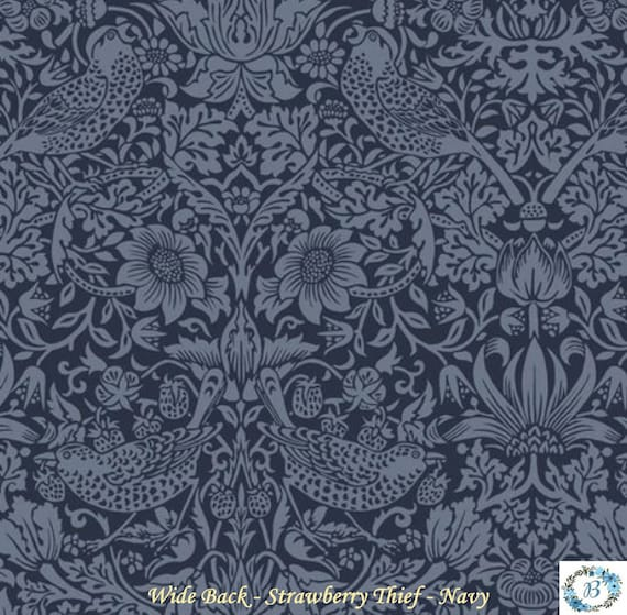 Wide Back Strawberry Thief -- Navy (Morris & Co.) Finish your quilt with the perfect backing
