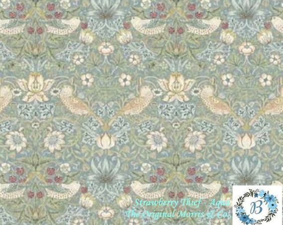 MORRIS and CO. Strawberry Thief - Aqua -  The Original Morris & Co.,  Be a part of the Arts and Crafts Movement Today