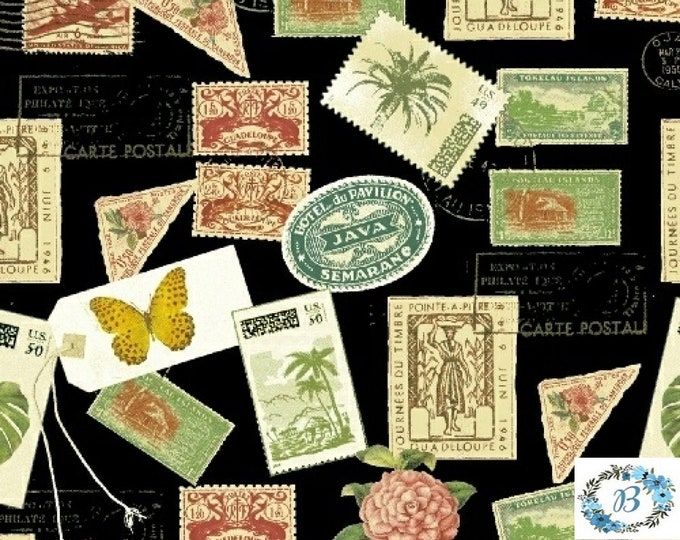 Paradise by Windham -Tossed Postage Stamp Design pairs perfectly with cork and is ideal for your next quilt design 100% Quilt Cotton