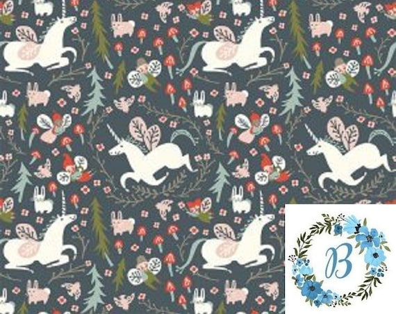 Birch Fabrics Organic - ENCHANTED UNICORNS in DUSK - Folkland by Kristen Balouch
