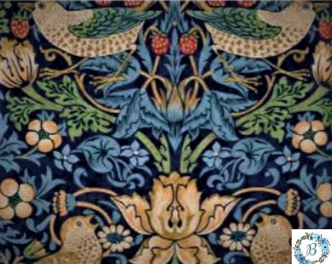 Strawberry Thief - Navy The Original Morris & Co.,  Be a part of the Arts and Crafts Movement Today