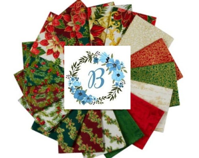 Song of Christmas - 17 fabrics in this bundle will help you create a lovely quilt treasure  to enjoy each Christmas Season.