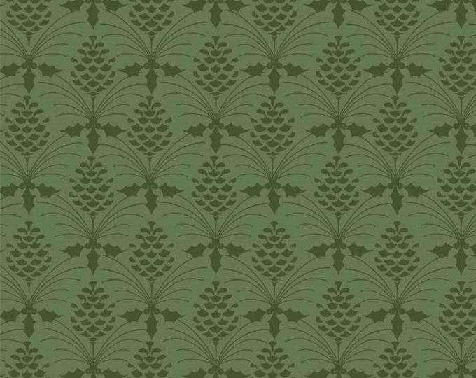 Christmas Bird Song by P&B Tex - Tonal Green on Green Pine-cone Design