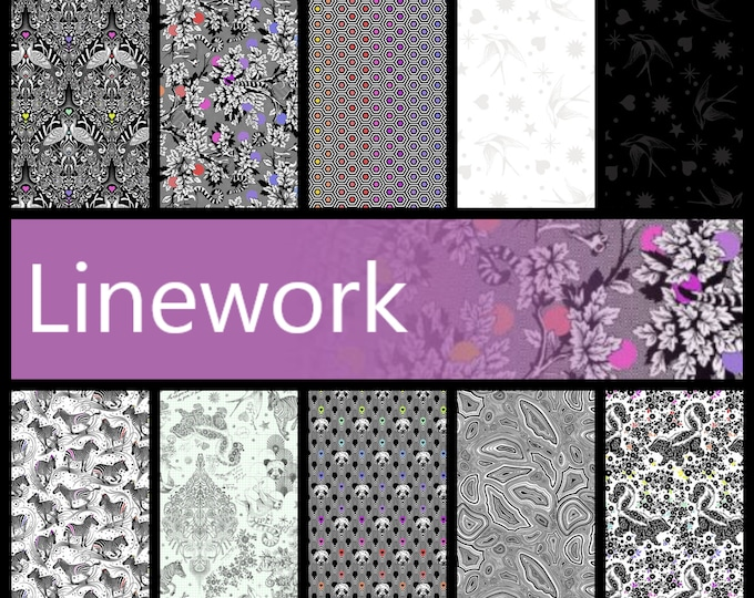 PRE-ORDER Tula Pink & LINEWORK   Half Metre Bundle of Linework - includes 9 fabrics from the collection for Free Spirit