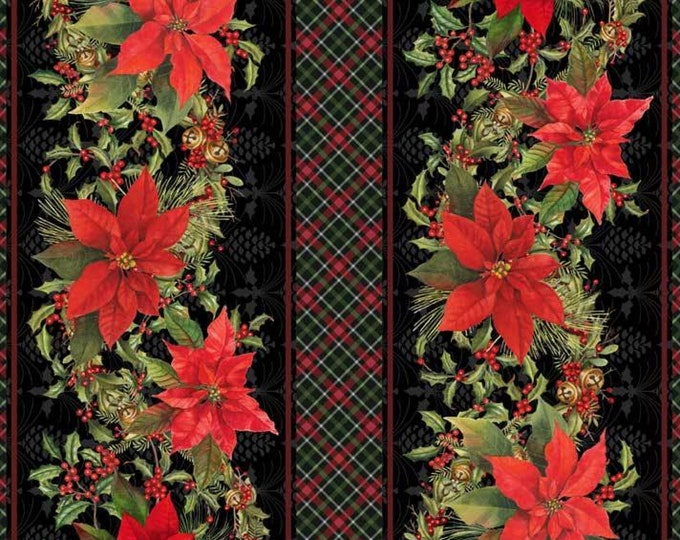 Christmas Bird Song by P&B Tex - Border with Poinsettia and Plaid Design